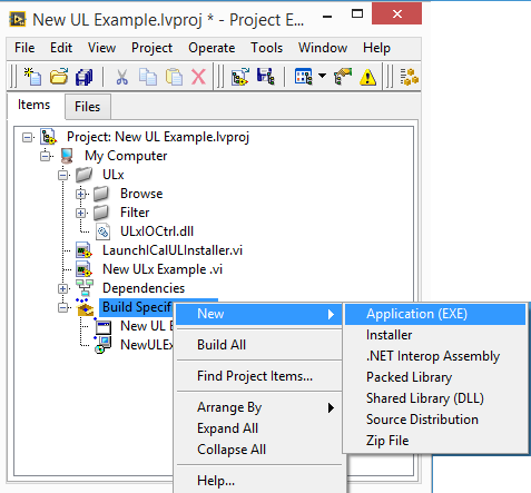 Building a ULx for NI LabVIEW Installer (2014)